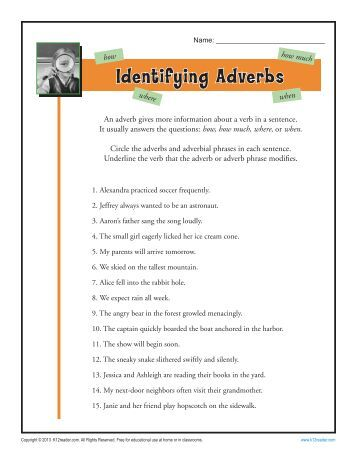 Identifying Adverbs | Adverb Worksheets
