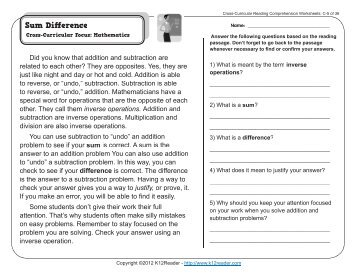 Cross-Curricular Reading Comprehension Worksheets: C-25 of