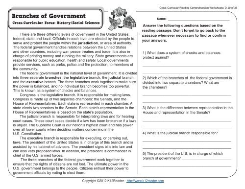 Cross Curricular Reading Comprehension Worksheets D 29 Of 36