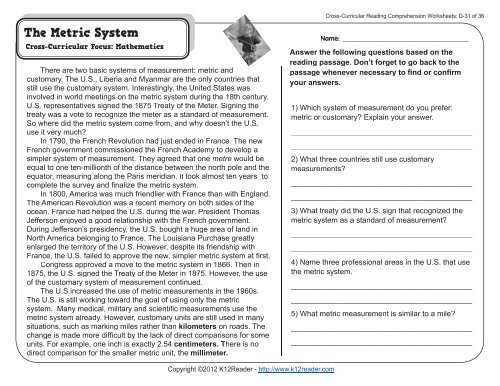 Cross-Curricular Reading Comprehension Worksheets: D-31 of 36