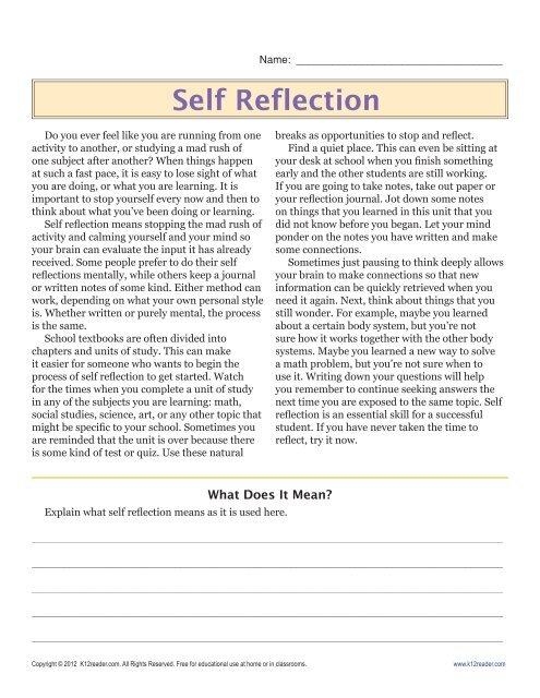 6th Grade Reading Comprehension Worksheets Self Reflection