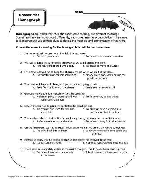 Choose the homograph | Homograph Worksheets