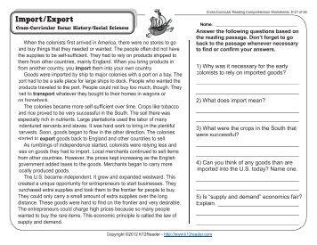 Printables Cross-curricular Reading Comprehension Worksheets collection cross curricular reading comprehension worksheets worksheets