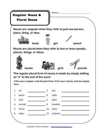 Irregular Plural Nouns   Noun Worksheets  K12reader.com