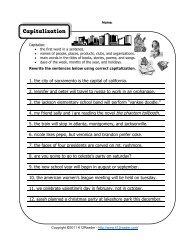 Capitalization Worksheet | Grammar Worksheets from K12reader.com
