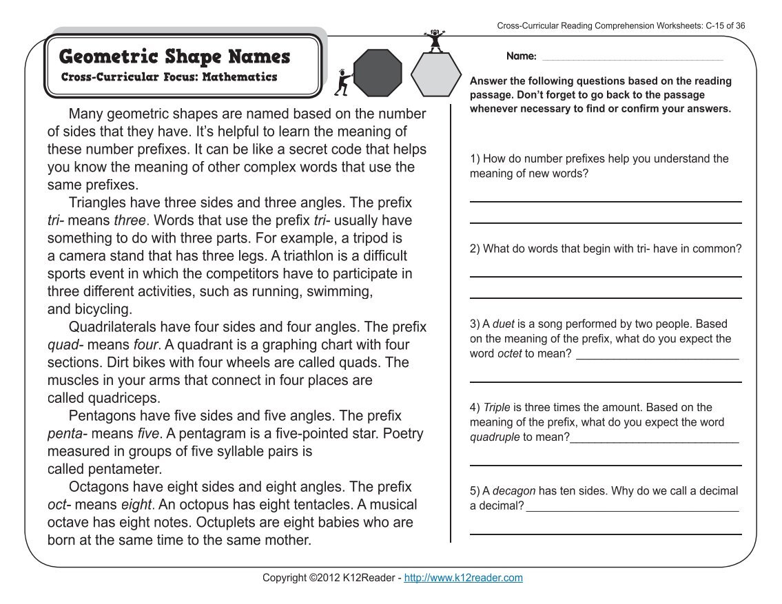 worksheet Cross Curricular Reading Comprehension Worksheets 380 free magazines from k12reader com com