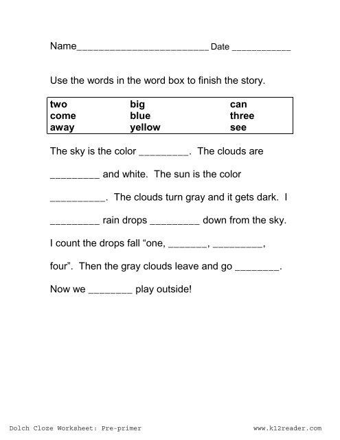 Cloze Activities   Dolch Pre-primer Cloze Worksheet #1   www ...