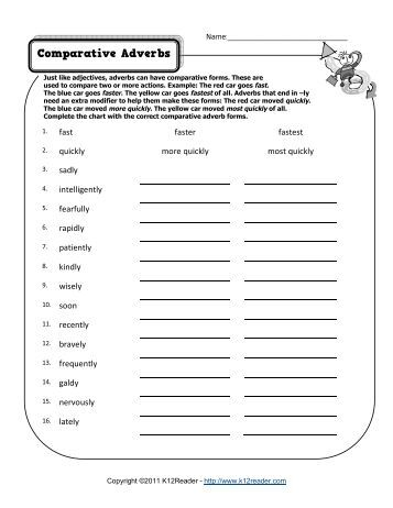 Comparative Adverbs | Adverb Worksheets