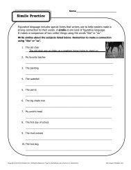 Simile Practice | Figurative Language Worksheets