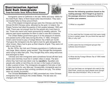 Printables Cross-curricular Reading Comprehension Worksheets collection of cross curricular reading comprehension worksheets c 8 36