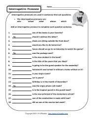 Interrogative Pronouns   Pronoun Worksheets