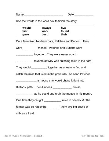 Cloze Activities Dolch Pre Primer Cloze Worksheet 1 Www