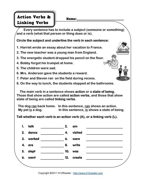 Action Verbs and Linking Verbs | Grammar Worksheets from ...