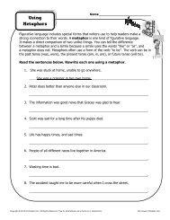 Using Metaphors | Figurative Language Worksheets
