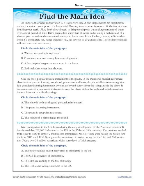 Main Idea Worksheets Find The Main Idea From The Passages