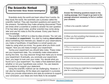 Cross-Curricular Reading Comprehension Worksheets: C-21 of