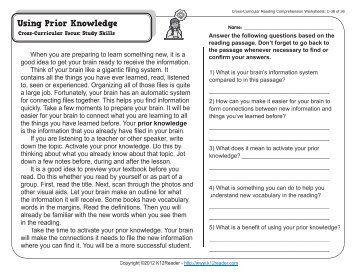 Cross-Curricular Reading Comprehension Worksheets: C-15 of 36