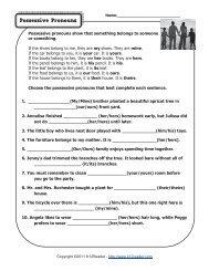 Possessive Pronouns | Pronoun Worksheets