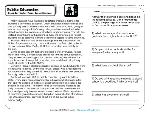 Cross-Curricular Reading Comprehension Worksheets: D-18 Of 36