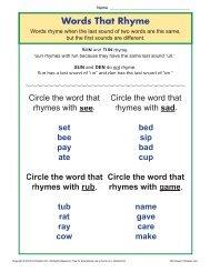 Words that Rhyme | Phonics Worksheets