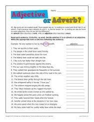 Adjective or Adverb Excercise Worksheet | K12reader.com