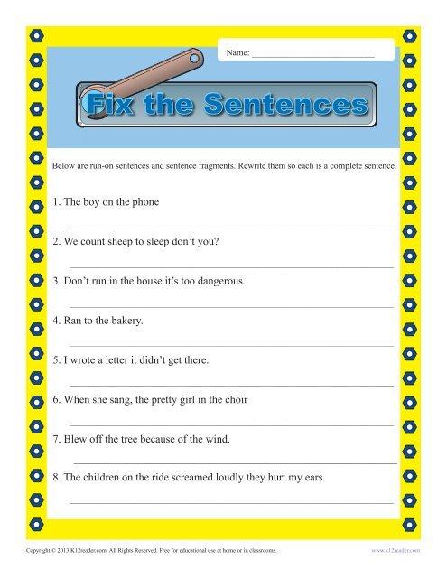 Run On Sentence And Fragments Sentence Structure Worksheets Sentence Grammatical Errors Sentence Fragments And Run Ons Worksheets #13