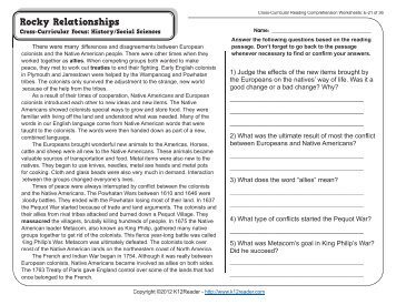 Curricular Reading Comprehension Worksheets