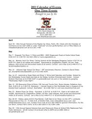 2011 Calendar of Events One Time Events ... - Highway 43 Car Club