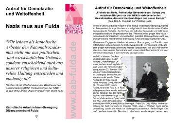 Aufruf für Demokratie und Weltoffenheit - KAB DV Fulda