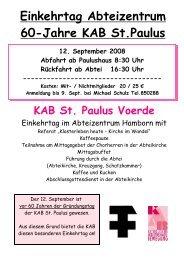 Einkehrtag Abteizentrum 60-Jahre KAB St.Paulus - KAB Voerde