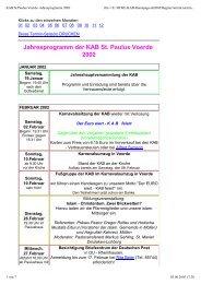 Jahresprogramm der KAB St. Paulus Voerde 2002 - KAB Voerde