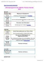 Jahresprogramm der KAB St. Paulus Voerde 2001 - KAB Voerde