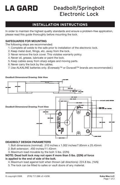 Deadbolt/Springbolt Electronic Lock - Kaba Mauer GmbHYumpu