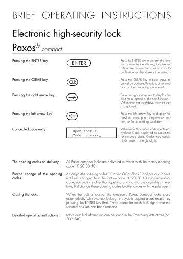 Paxos compact - Brief operating manual keypad - Kaba