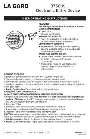 la gard electronic lock instructions