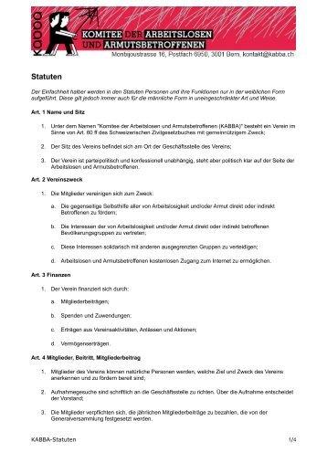 Statuten - Komitee der Arbeitslosen und Armutsbetroffenen KABBA