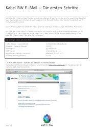 Ausführliche Anleitung zur Einrichtung des E-Mail ... - Kabel BW
