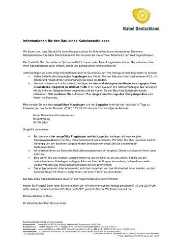 Informationen für den Bau eines Kabelanschlusses