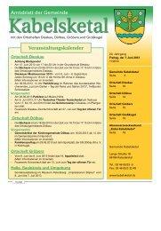 Amtsblatt der Gemeinde Veranstaltungskalender