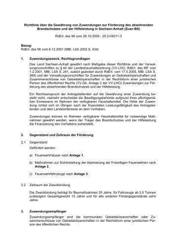 Richtlinie über die Gewährung von Zuwendungen zur Förderung ...