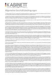 Allgemeine Geschäftsbedingungen - Kabinett Online