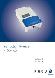 KACO blueplanet XP10U-H4: Operating Instructions - KACO new ...
