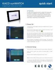 KACO sunWATCH quickstart guide - KACO new energy, Inc.