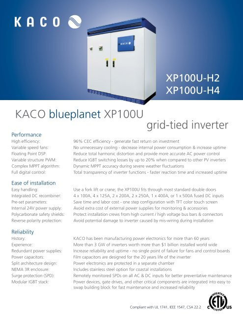 Spec Sheet blueplanet XP100U H2 & H4 - KACO new energy, Inc