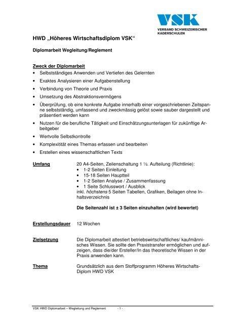 Diplomarbeit Reglement Wegleitung Hwd