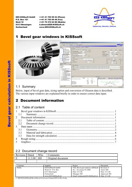 Bevel gear windows in kisssoft bevel gear calculation