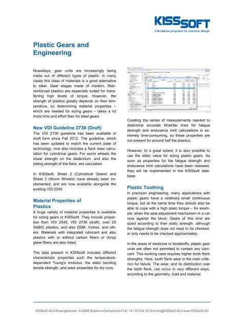 Plastic gear calculation with new VDI guideline
