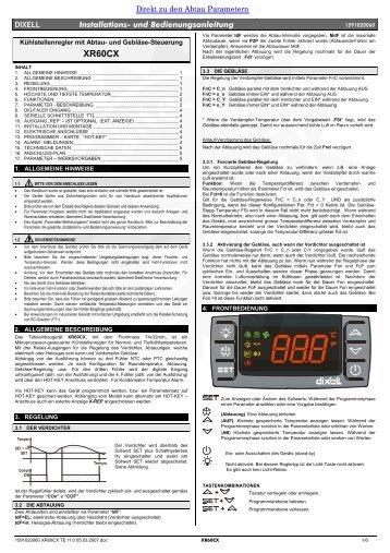Bedienungsanleitung Dixell XR60CX - Kälte Berlin