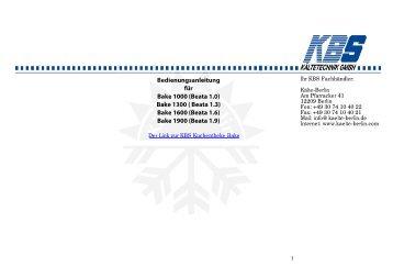 KBS Kuchentheke Bake Bedienungsanleitung - Kälte Berlin
