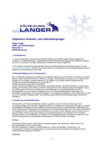 Allgemeine Verkaufs- und Lieferbedingungen - KÄLTE KLIMA ...